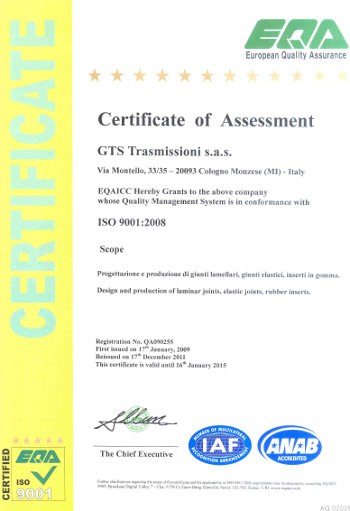 Certificato ISO9001 GTS Trasmissioni_sas